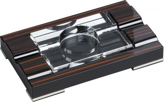 Cigar ashtray Macassar finish, chrome feet