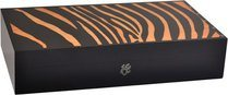 Humidor Elie Bleu Safari Intarsio Zebra per 110 Sigari Arancione