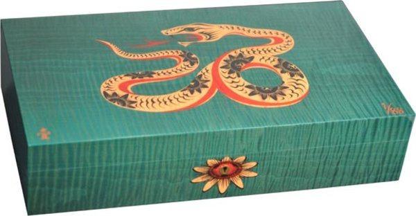 Humidor Elie Bleu Sicomoro Intarsio Serpente Edizione Limitata Verde (numerato 1-88)