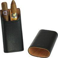 Portasigari Adorini in vera pelle per 2-3 sigari in Nero